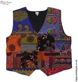 Multicoloured-Cotton-Patchwork-Hippy-Waistcoat