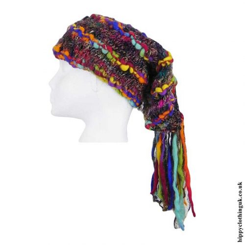 Multicoloured-Recycled-Silk-Hat-with-Wool-Tassels