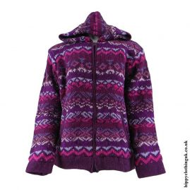 Purple-Patterned-Hooded-Wool-Jacket