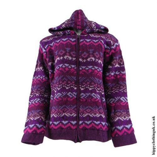 Purple-Patterned-Hooded-Wool-Jacket