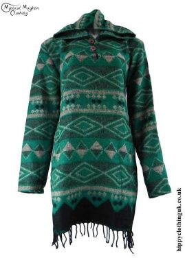 Teal-Acrylic-Wool-Hooded-Hippy-Dress-Top