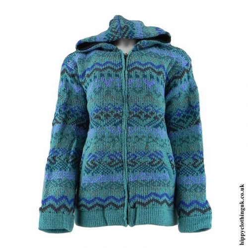 Turquoise-Patterned-Hooded-Wool-Jacket