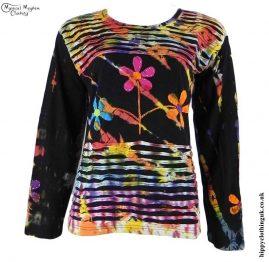 Black-Long-Sleeve-Embroidery-Flower-T-Shirt