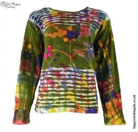 Green-Long-Sleeve-Embroidery-Flower-T-Shirt