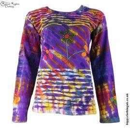 Purple-Long-Sleeve-Embroidery-Flower-T-Shirt