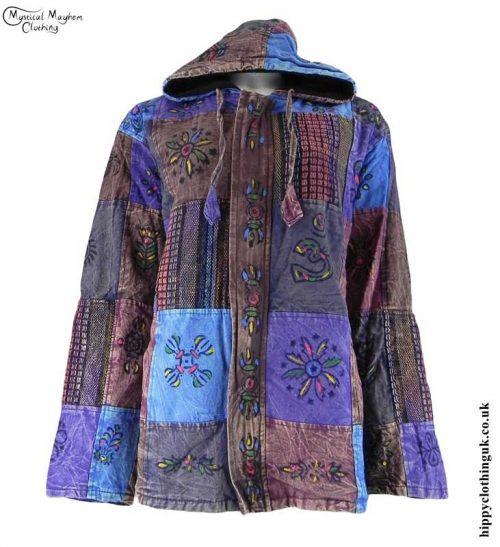 Purple-Multicoloured-Patchwork-Hooded-Hippy-Jacket