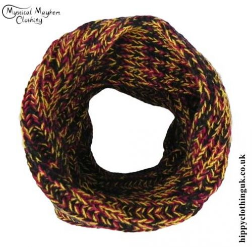 Yellow-and-Red-Knitted-Wool-Snood