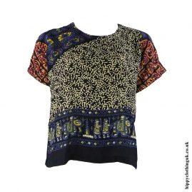 Beige-and-Blue-Batik-Patterned-Hippy-Blouse