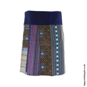 Blue-&-Beige-Woven-Cotton-Patterned-Wrap-Skirt