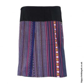 Blue-Woven-Cotton-Patterned-Wrap-Skirt