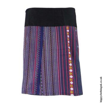 Blue-Woven-Cotton-Patterned-Wrap-Skirt