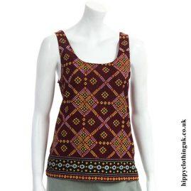 Burgundy Patterned Rayon Hippy Vest Top