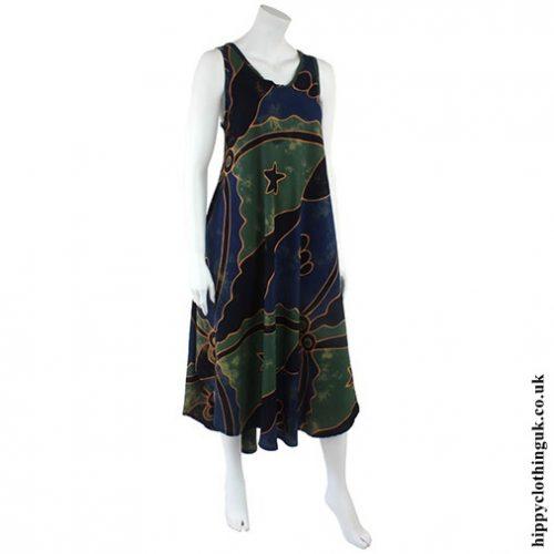 Green Abstract Batik Sleeveless Hippy Dress