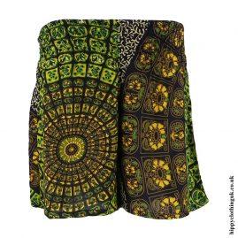 Green-Batik-Patterned-Hippy-Shorts