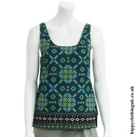 Green Patterned Rayon Hippy Vest Top