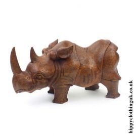 Hand Carved Wooden Rhino Statue