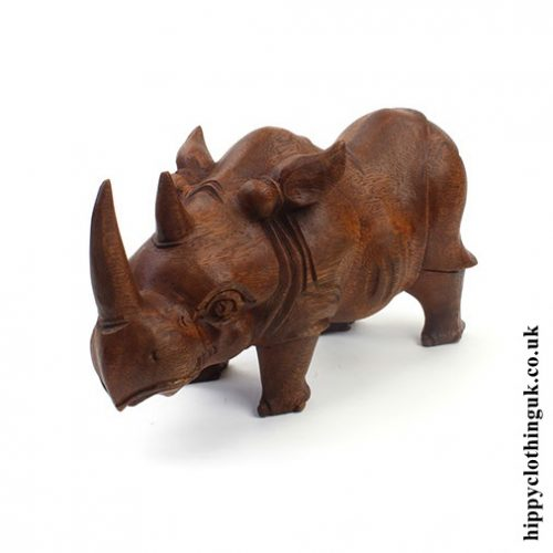 Hand Carved Wooden Rhino Statue - Left Side