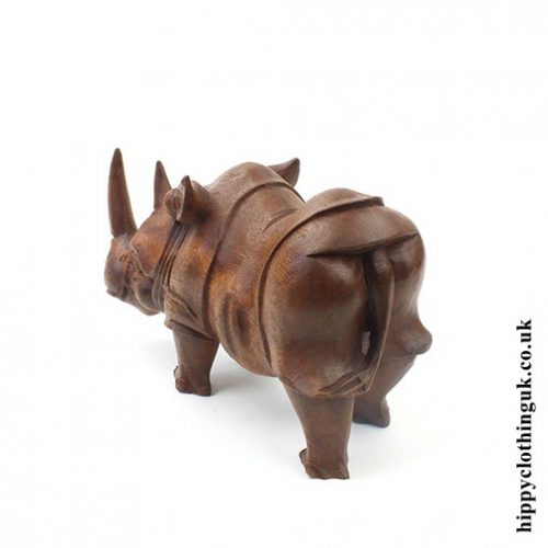 Hand Carved Wooden Rhino Statue - Rear