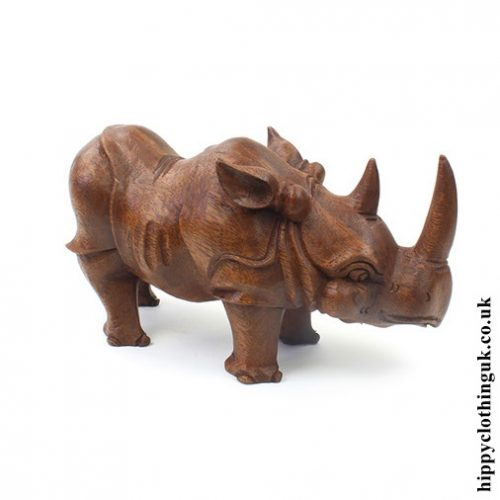 Hand Carved Wooden Rhino Statue - Right Side