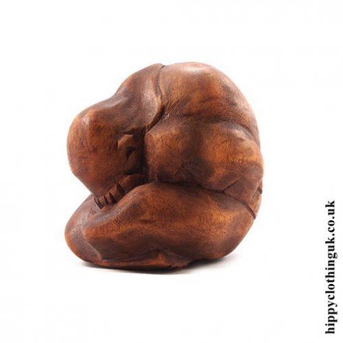 Handcarved Wooden Yogi Statue - Left Side