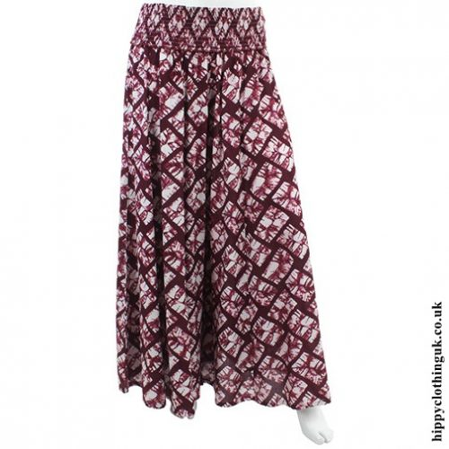 Maroon Wide Leg Panelled Trousers