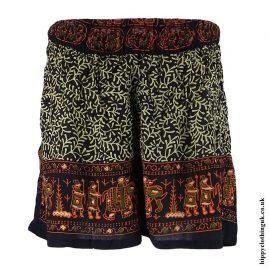 Orange-Batik-Patterned-Hippy-Shorts