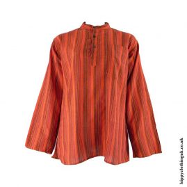 Orange-Neaplese-Cotton-Striped-Grandad-Shirt