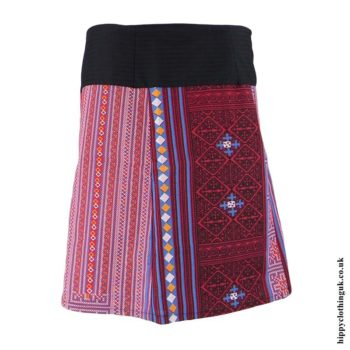 Pink-&-Red-Woven-Cotton-Patterned-Wrap-Skirt