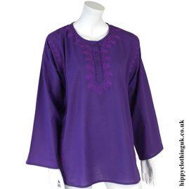 Purple Embroidery Kurta Tunic