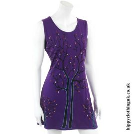 Purple Tree of Life Sleeveless Hippy Dress