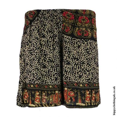 Red-Batik-Patterned-Hippy-Shorts