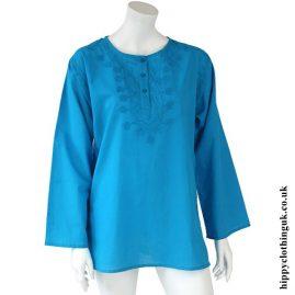 Turquoise Embroidery Kurta Tunic