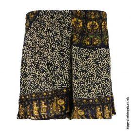 Yellow-Batik-Patterned-Hippy-Shorts