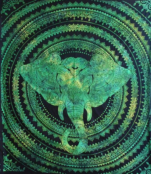 Green-Double-Elephant-Hippy-Throw,-Bed-Spread,-Wall-Hanging