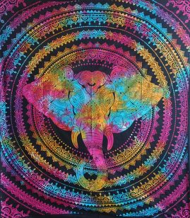 Multicoloured-Double-Elephant-Hippy-Throw,-Bed-Spread,-Wall-Hanging
