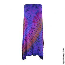 Purple-Multicoloured-Tie-Dye-Elastic-Waist-Skirt