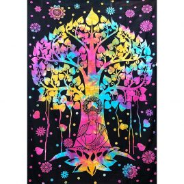 Tie-Dye-Buddha-Tree-Throw,-Bed-Spread,-Wall-Hanging