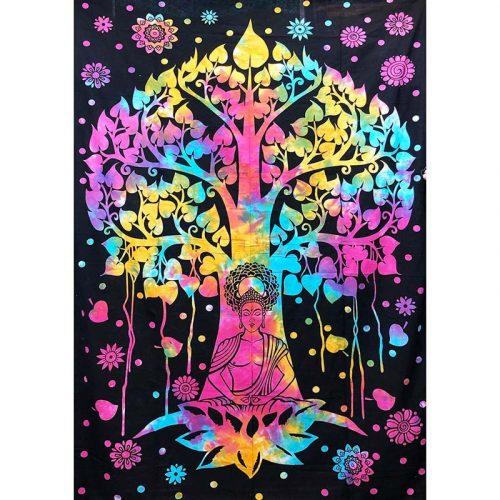 Tie-Dye-Buddha-Tree-Throw,-Bed-Spread,-Wall-Hanging