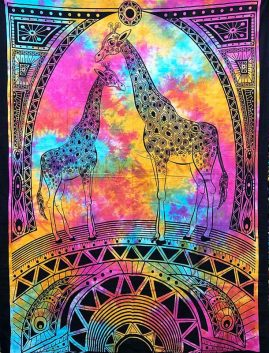 Tie-Dye-Giraffe-Hippy-Throw,-Bed-Spread,-Wall-Hanging