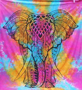 Tie-Dye-Mandala-Elephant-Hippy-Throw,-Wall-Hanging,-Bed-Spread