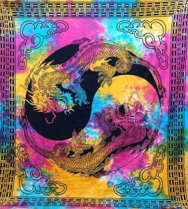 Tie-Dye-Yin-Yang-Dragons-Throw,-Bed-Spread,-Wall-Hanging