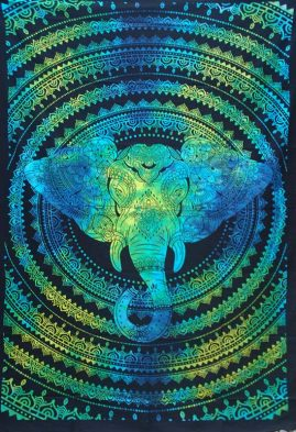 Turquoise-Single-Elephant-Hippy-Throw,-Bed-Spread,-Wall-Hanging