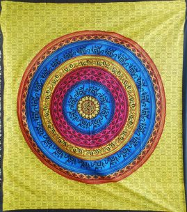 Yellow-Double-Mandala-Hippy-Throw,-Bed-Spread,-Wall-Hanging
