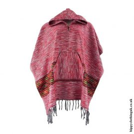 Red-Acrylic-Wool-Hooded-Poncho