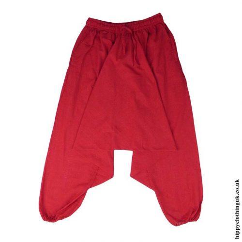 Red-Plain-Cotton-Harem-Trousers