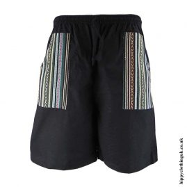 Black-Cotton-Gheri-Pocket-Shorts