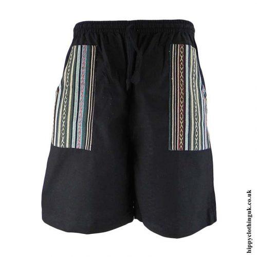 Black-Cotton-Gheri-Pocket-Shorts