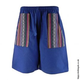 Blue-Cotton-Gheri-Pocket-Shorts