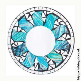 Blue-Glitter-Effect-Round-Sun-Mosaic-Mirror