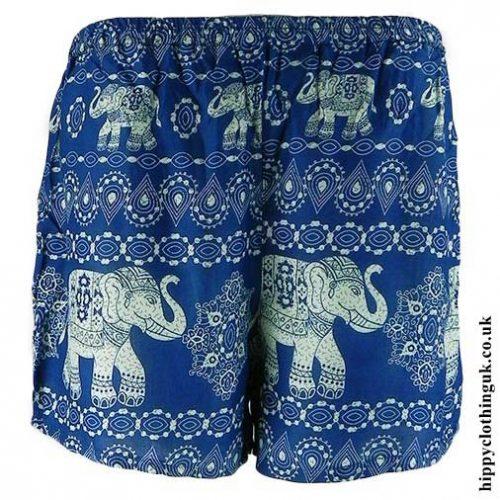 Blue-Ladies-Elephant-Print-Hippy-Shorts